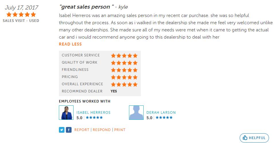 5-star DealerRater review