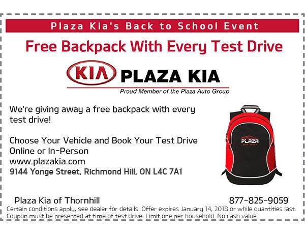 Test Drive Backpack Offer