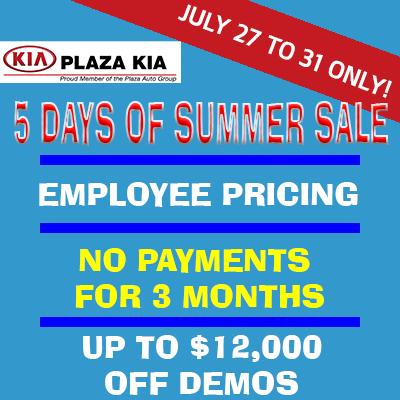 Plaza Kia's 5 Days of Summer Sale