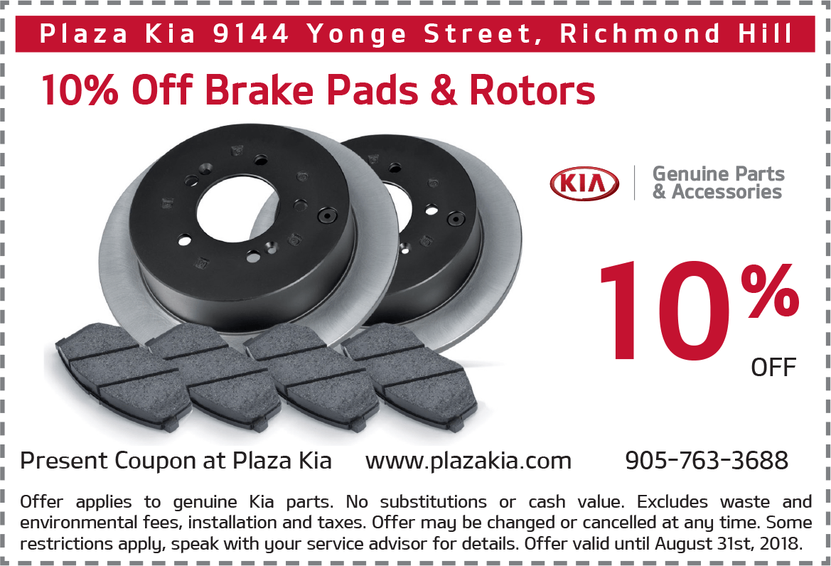 Kia Brake Pads and Rotors Offer