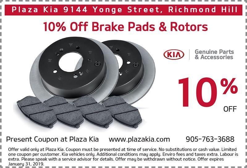 10% Off Genuine Kia Brake Pads and Rotors